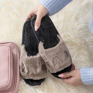Серые женские тапочки с мехом Wortan - Обувь
