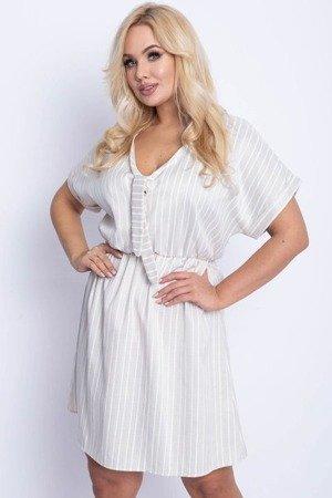 Бежеве плаття з смугастим покриттям ПЛЮС-РОЗМІР - Сукні 1
