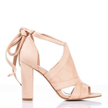 Бежеві та рожеві жіночі босоніжки на високій стійці з верхнім верхом Lanaline - Взуття