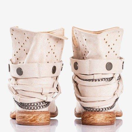 Бежеві та рожеві ковбойські чоботи на танкетці Салемі - Взуття