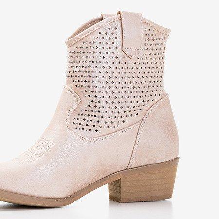 Бежеві черевики з кубічними цирконієвими ковбойськими черевиками Marsila - Взуття