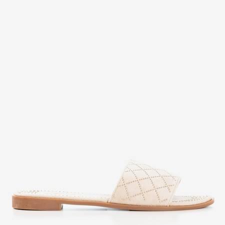 Бежеві шльопанці із золотими струменями Біллі - Взуття 1