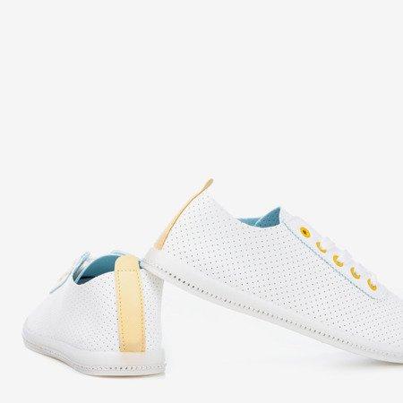 Білі ажурні кросівки з жовтою вставкою Jasenia - Взуття 1