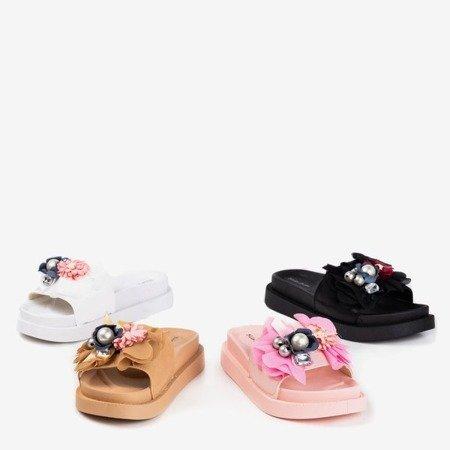 Білі жіночі тапочки з квітами Містер - Взуття 1