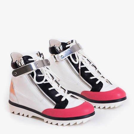 Білі спортивні черевики з кораловими вставками Krillas