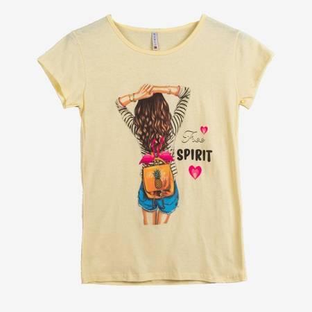 Жовта жіноча футболка з кольоровим принтом - Одяг 1