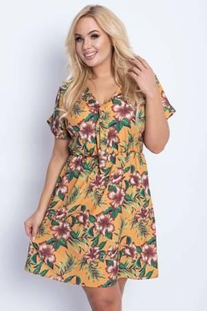 Жовта квіткова сукня PLUS SIZE - Одяг 1
