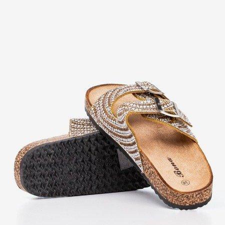 Жовто-золоті тапочки з цирконами Summer Star - Взуття
