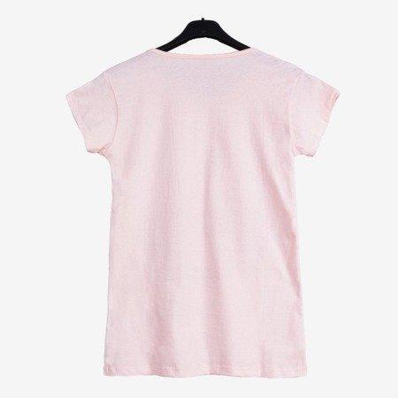 Жіноча футболка світло-рожева, прикрашена кольоровим принтом - Блузки 1