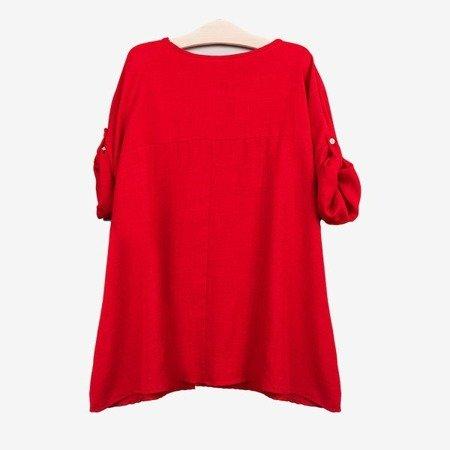 Жіноча червона туніка з написами - Блузки 1