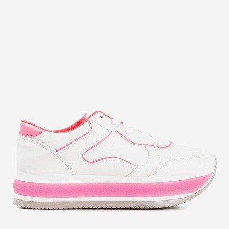 Жіноче біле спортивне взуття на товстій платформі з неоновими вставками Savss - Взуття