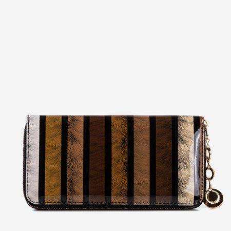 Жіночий гаманець коричневий з лаком з принтом - Гаманець