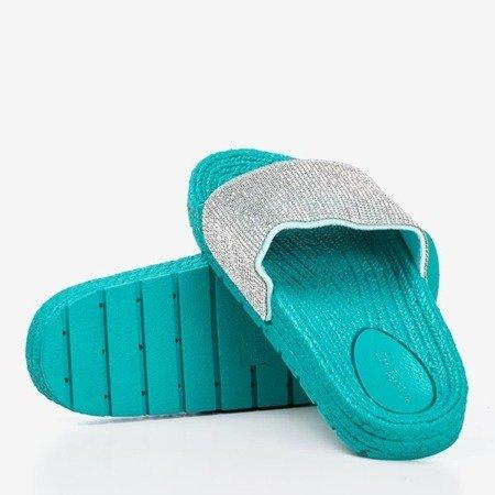 Жіночі бірюзові босоніжки з фіанітами Blink Blink - Взуття