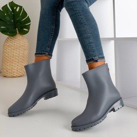 Жіночі дощові чоботи з сірого матового шоу - Взуття