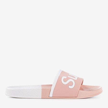 Жіночі рожеві тапочки з написом Super - Взуття