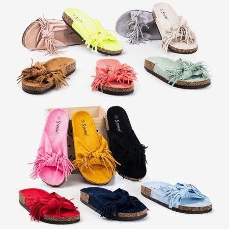 Жіночі тапочки бежевого кольору з бахромою Amassa - Взуття