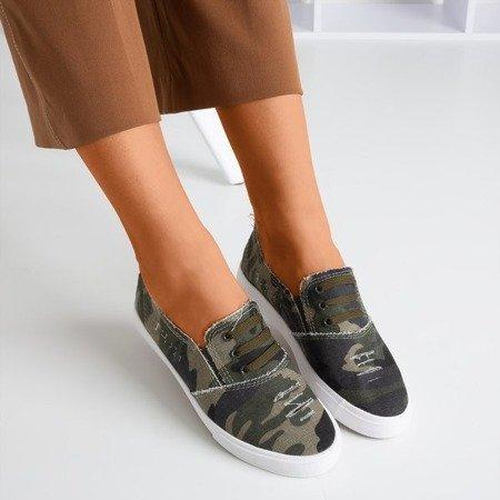 Жіночі темно-зелені сліпи на кросівках Leandra camo - Взуття
