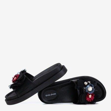 Жіночі чорні тапочки з квітами Містера - Взуття