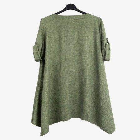 Зелена жіноча туніка з написами - Блузки 1