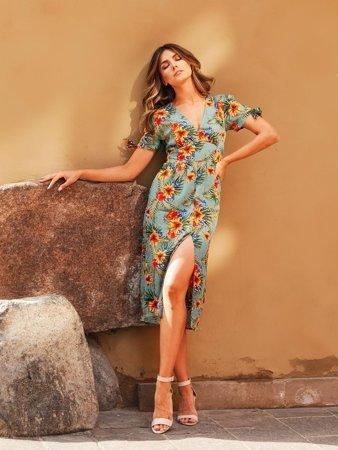 Зелене жіноче квіткове плаття - Одяг 1