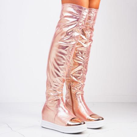 Золоті ботфорти на платформі Disco - Взуття