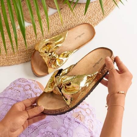 Золоті жіночі тапочки з бантом Isydora - Взуття