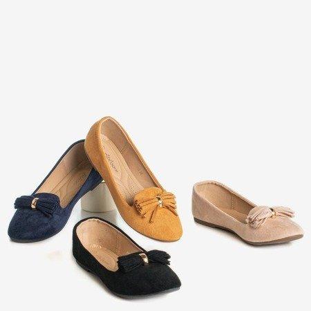 Коричневі балерини з неглибоким декором - Взуття