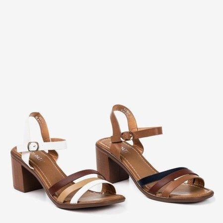 Коричневі босоніжки на високій посаді з різнокольоровими ремінцями Ghilea - Взуття 1