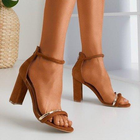 Коричневі жіночі босоніжки на високих підборах Callisia - Взуття