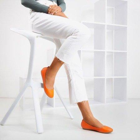 Неонові помаранчеві жіночі еко-балерини - шкіра Nastis - Взуття