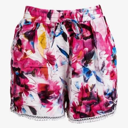 Рожеві жіночі короткі шорти з квітами - Штани 1