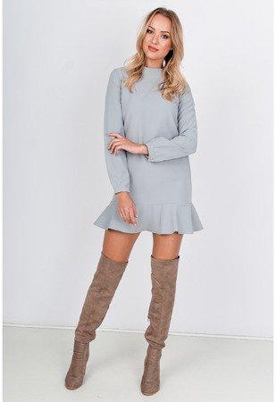 Світло-сіре міні-плаття з оборками - Одяг