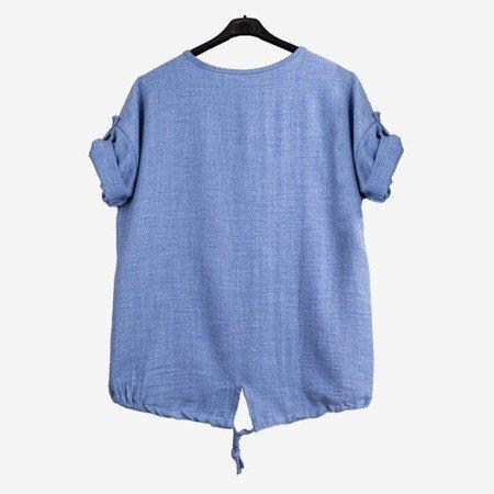 Синя жіноча туніка з написами - Блузки 1