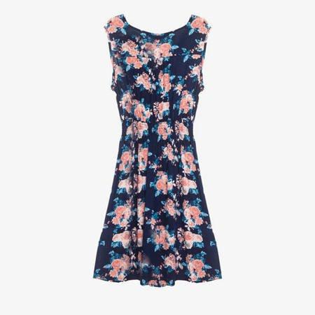 Синє плаття довжиною до колін з квітами - Одяг 1
