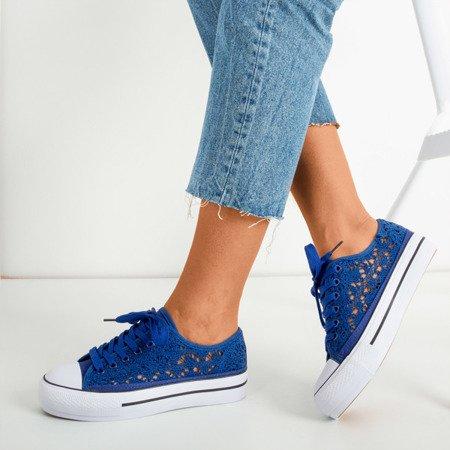 Сині мереживні кросівки на товстій платформі Satilla - Взуття
