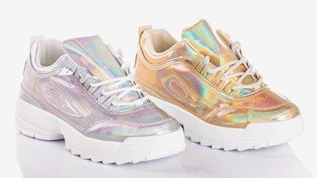 Срібні жіночі кросівки з голографічним покриттям. Це все - Взуття 1