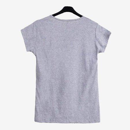 Сіра жіноча футболка, прикрашена кольоровим принтом - Блузки 1