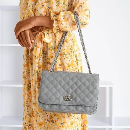 Сіра стьобана наплічна сумка - Сумочки