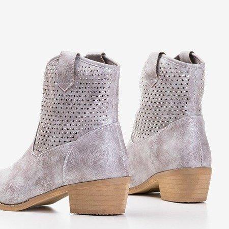 Черевики з легкими сірими ковбойськими кубиками з ковбойського цирконію a'la Marsila - Взуття