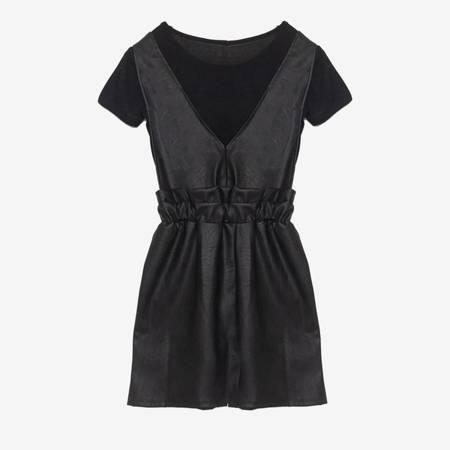 Чорна спідниця з еко-шкіри з сорочкою - Одяг 1