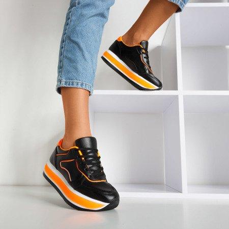 Чорне жіноче спортивне взуття на товстій платформі з неоновими вставками Savss - Взуття 1