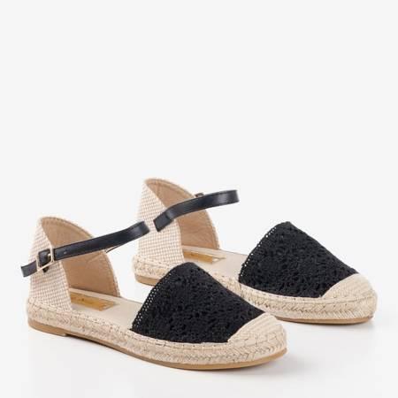 Чорні босоніжки з еспадрилем з ажурною верхньою Азією - Взуття 1