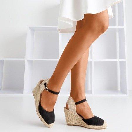 Чорні босоніжки на підборах a'la espadrilles Tidem - Взуття
