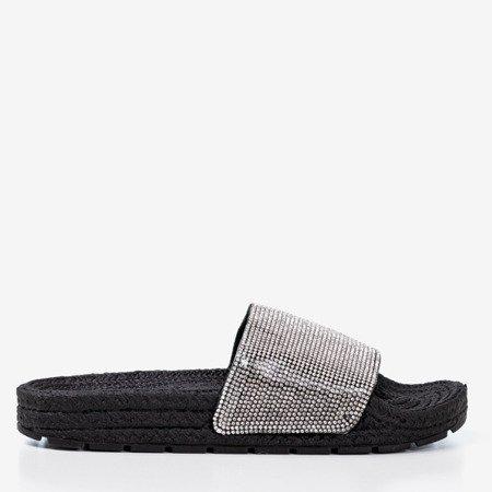 Чорні жіночі тапочки з кубічним цирконієм Blink Blink - Взуття 1