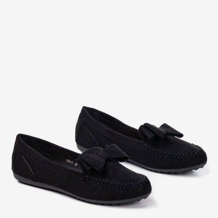 Чорні мокасини для жінок з бантом Ursula - Взуття 1