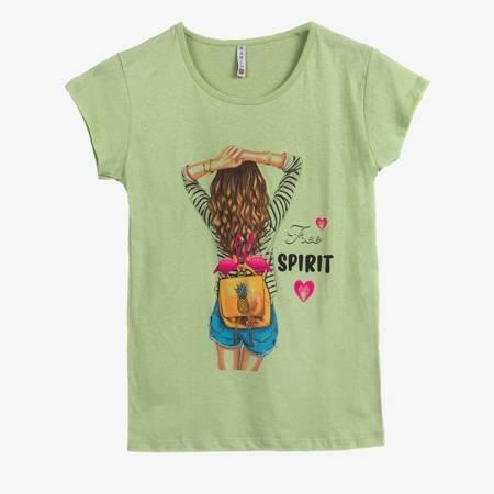 світло-зелена жіноча футболка з різнокольоровим принтом - Одяг 1