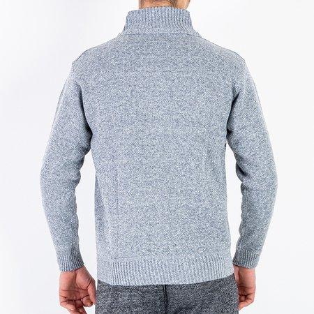 Чоловічий сірий светр на блискавці - Одяг