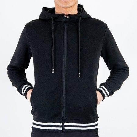 Чоловічий теплий чорний светр з смужками - Одяг