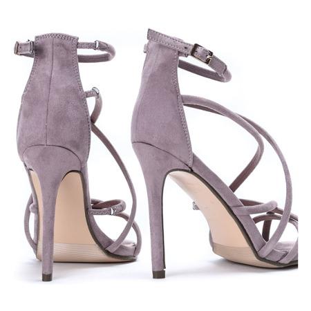 Fioletowe sandały na szpilce- Obuwie