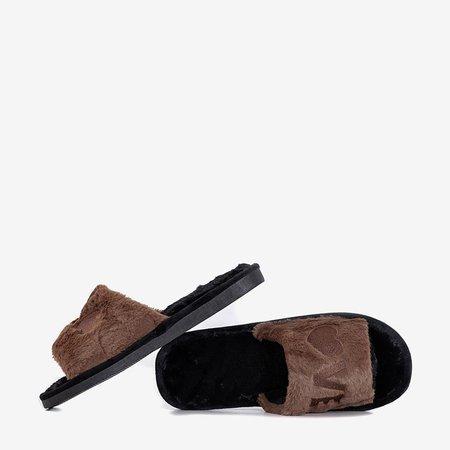 Коричневі жіночі тапочки з хутром Wortan - Взуття